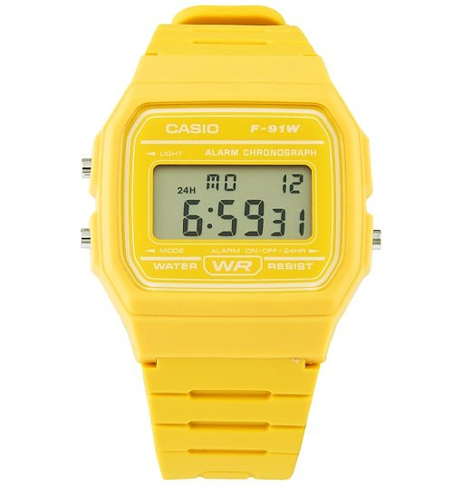 Classic Mustard Yellow Watch F-91WC-9AEF from Casio