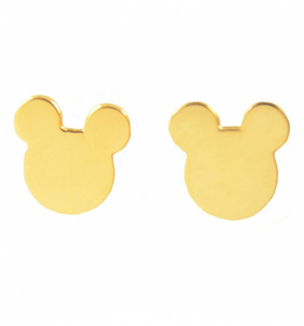 Gold Plated Mickey Mouse Silhouette Stud Earrings from Disney by Couture Kingdom