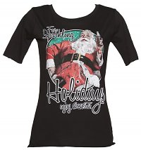 Women's Black Coca-Cola Santa Sparkling Holidays Slouch Scoop Neck T-Shirt