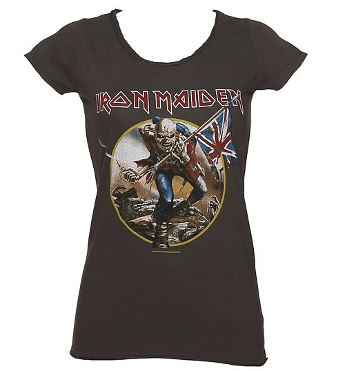 Women's Charcoal Iron Maiden Trooper T-Shirt from Amplified