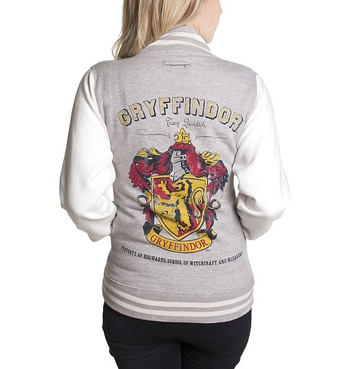 Women's Grey Harry Potter Gryffindor Team Quidditch Varsity Jacket