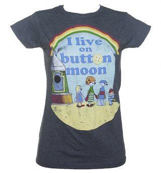 Women's Heather Navy I Live On Button Moon T-Shirt