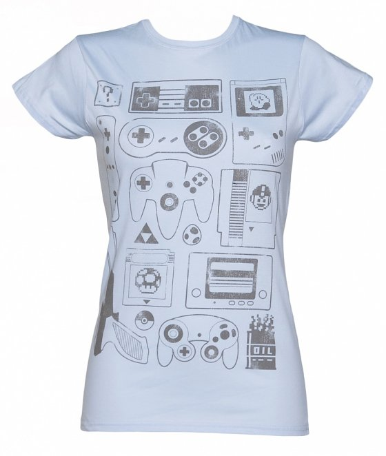 Women's Light Blue Old School Gamer T-Shirt