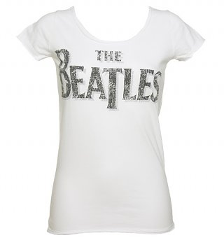Women's White Beatles Logo Slim Fit T-Shirt from Amplified Vintage