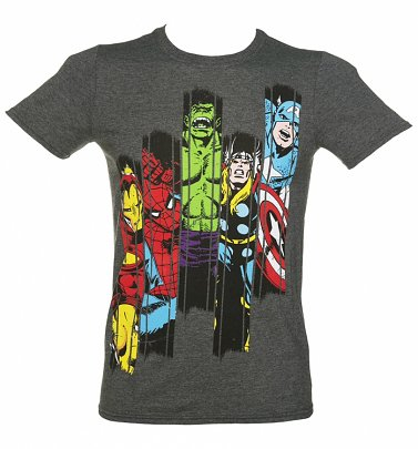 Men's Charcoal Marl Marvel Superheroes Panel T-Shirt