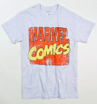 Men's Classic Grey Marl Marvel Comics Logo T-Shirt