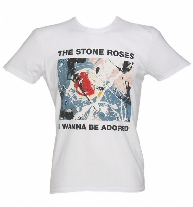 Men's White Stone Roses Wanna Be Adored T-Shirt from Amplified