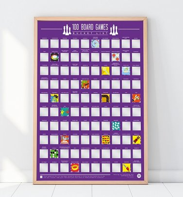 100 Board Games Bucket List Scratch Poster