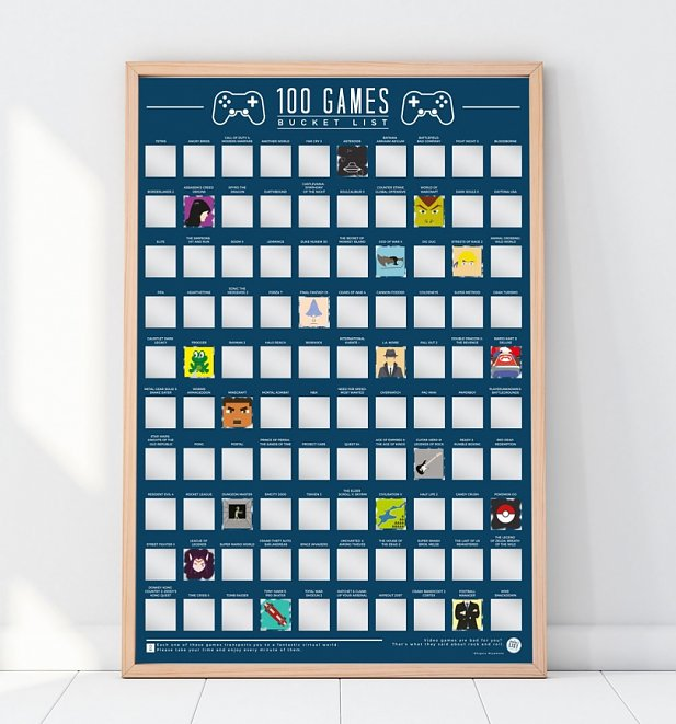 100 Games Bucket List Scratch Poster