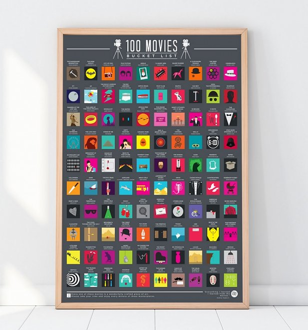100 Movies Bucket List Scratch Poster