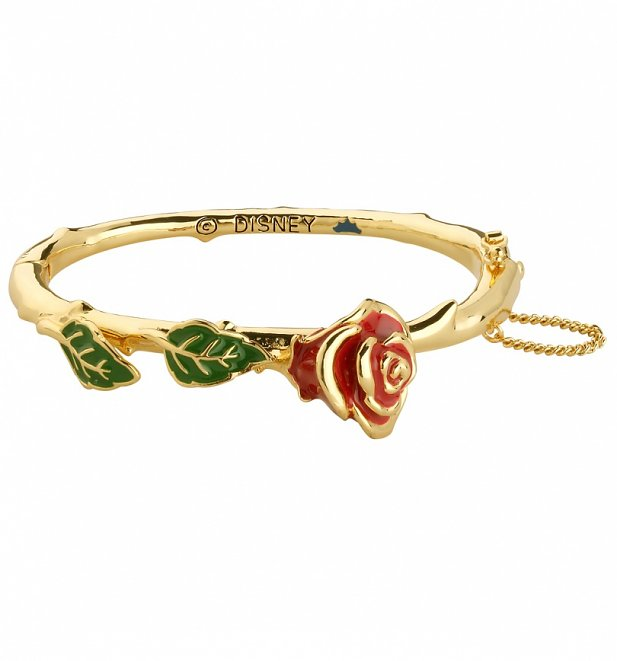 14kt Gold Plated Beauty & The Beast Enchanted Red Rose Bangle from Disney Couture