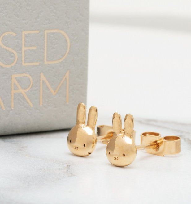18ct Gold Vermeil Miffy Head Stud Earrings