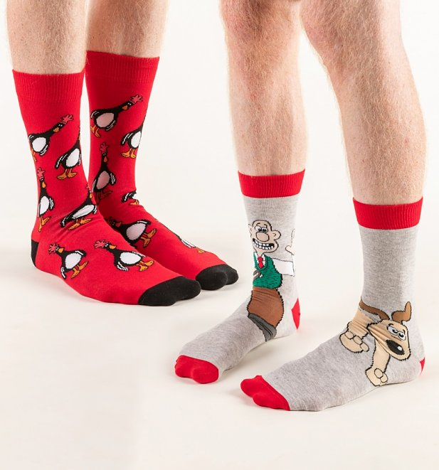 2pk Wallace, Gromit and Feathers McGraw Socks