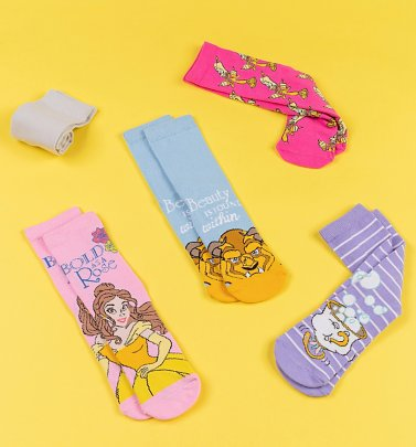 5pk Beauty and the Beast Socks