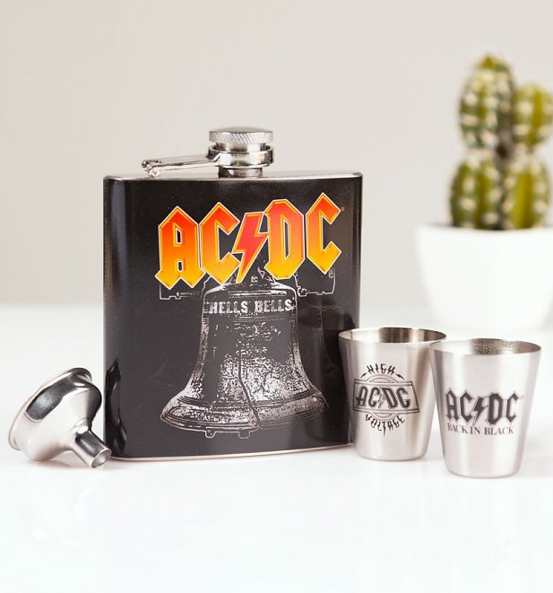AC/DC Hells Bells Hip Flask Gift Set