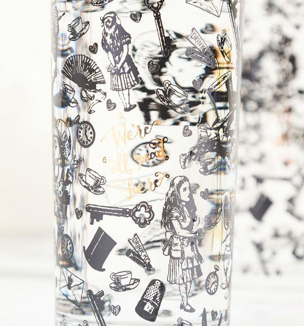 Alice In Wonderland Victoria & Albert Museum We're All Mad Here Set Of 2 High Ball Glasses