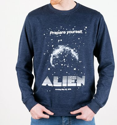 Alien Retro Movie Poster Heather Navy Sweater