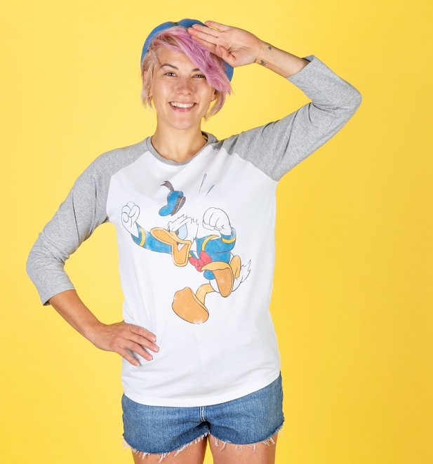 Angry Donald Duck White And Grey Baseball Shirt