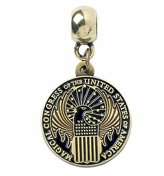 Antique Gold Plated Fantastic Beasts And Where To Find Them Magical Congress Slider Charm