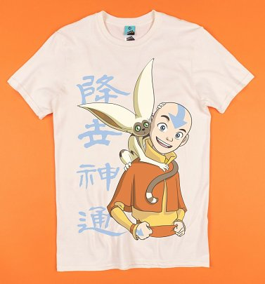 Avatar The Last Airbender Aang And Momo Ecru T-Shirt