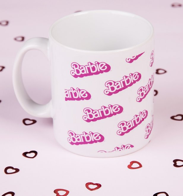 Barbie Repeat Print Logo Boxed Mug