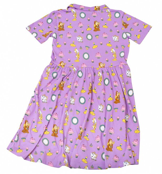 Beauty And The Beast All Over Print Button Up Dress from Cakeworthy
