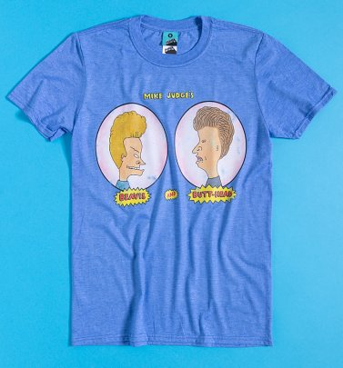 Beavis And Butt-Head Title Screen Blue Marl T-Shirt