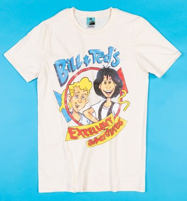 Bill And Ted's Excellent Adventures Cartoon Ecru T-Shirt