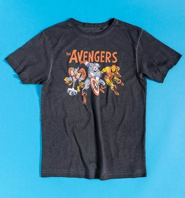Black Acid Wash Vintage Marvel Avengers T-Shirt