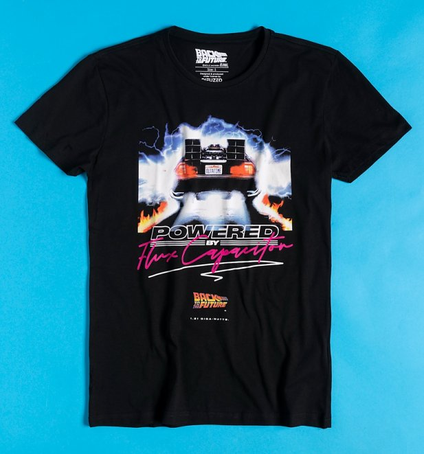 Men's Black Back To The Future Powered By The Capacitor T-Shirt from Difuzed