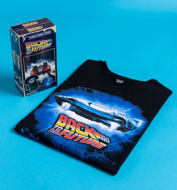 Black Back To The Future T-Shirt in VHS Box from Funko