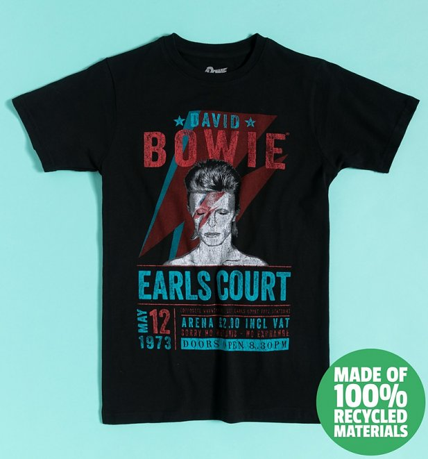 Black David Bowie Earls Court '73 Recycled Eco T-Shirt
