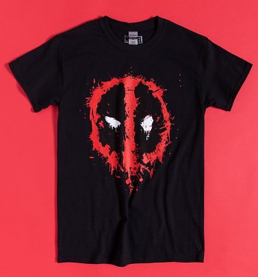 Black Deadpool Splat Logo T-Shirt