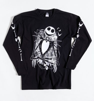 Black Disney Nightmare Before Christmas Long Sleeve T-Shirt with Sleeve Print