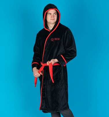 Black Fleece Queen Crest Hooded Bath Robe