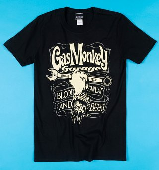 Black Gas Monkey Blood Sweat and Beers T-Shirt