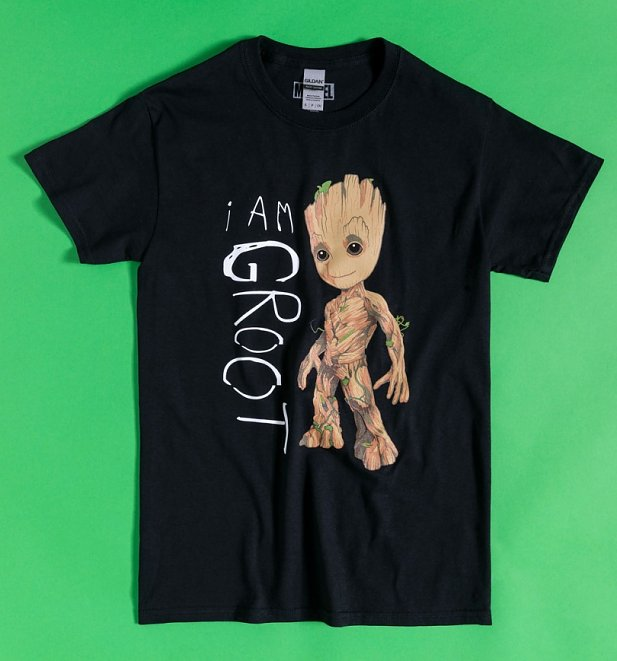 Black Guardians Of The Galaxy I Am Groot Scribble T-Shirt