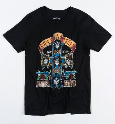 Black Guns N Roses 1988 Appetite For Destruction Tour T-Shirt with Back Print