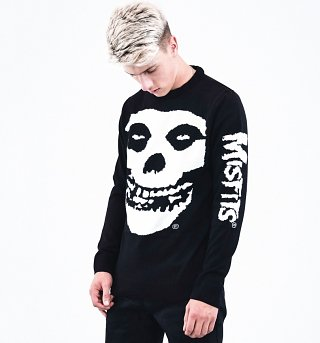 Black Knitted Misfits Skull Jumper from Ultrakult