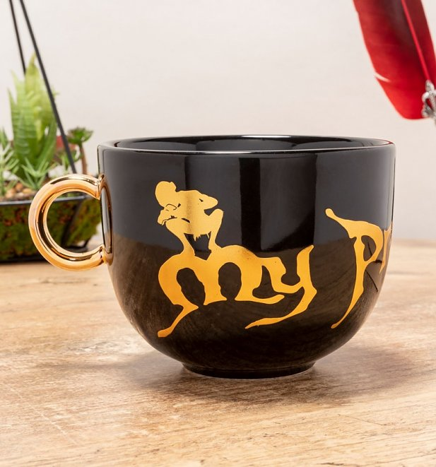 Black Lord Of The Rings Mug with Metallic Gold Ring Handle