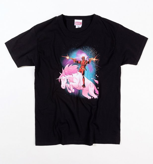 Black Marvel Deadpool Unicorn T-Shirt