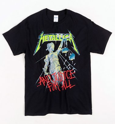 Black Metallica Justice For All T-Shirt with Back Print