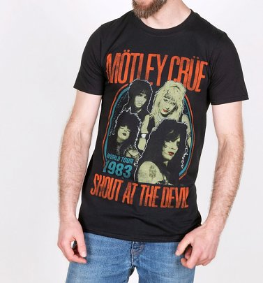 Black Motley Crue Shout At The Devil 1983 Tour T-Shirt