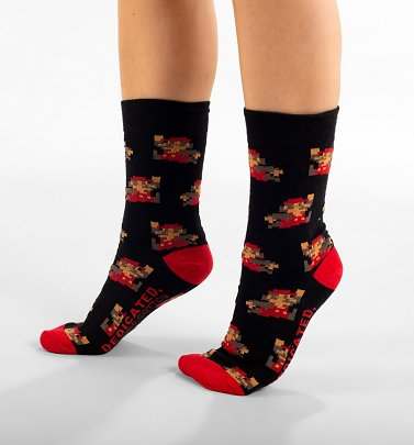Black Super Mario Pattern Organic Cotton Socks from Dedicated