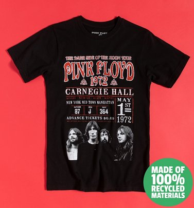 Black Pink Floyd Carnegie Hall '72 Recycled Eco T-Shirt