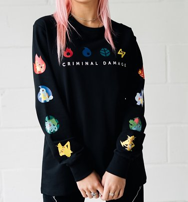 Black Pokemon Character Evolution Long Sleeve T-Shirt from Criminal Damage