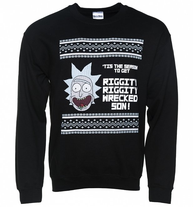 Black Riggity Riggity Wrecked Rick And Morty Christmas Sweater