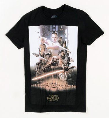 Black Star Wars The Rise Of Skywalker Poster T-Shirt