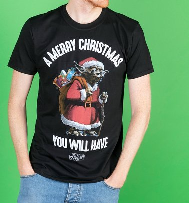 Black Star Wars Yoda Merry Christmas T-Shirt