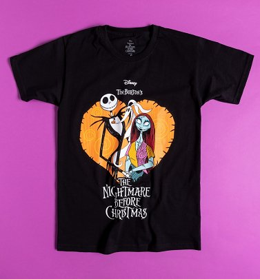 Black The Nightmare Before Christmas Sally and Jack Love T-Shirt